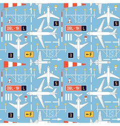 Seamless pattern with passenger airplanes 04 vector