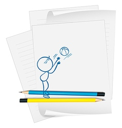 A paper with a drawing of a boy fetching a ball vector image vector image