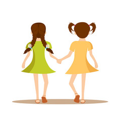 back view of two cute little girls holding hands vector image vector image