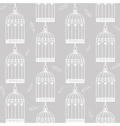 Birdcages and feathers vector