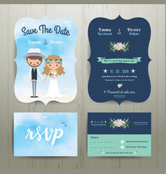 Bohemian cartoon couple on the beach wedding card vector image vector image