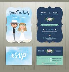 Bohemian cartoon couple on the beach wedding card vector