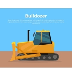 Bulldozer banner flat design vector