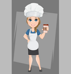 chef woman with cup of coffee having a rest while vector image vector image