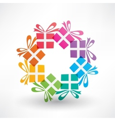 Colored corcle of gifts vector image vector image