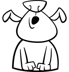 Dog howls cartoon coloring page vector