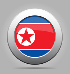 Flag of north korea shiny metal gray round button vector