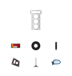 Flat auto set of auto component headlight vector