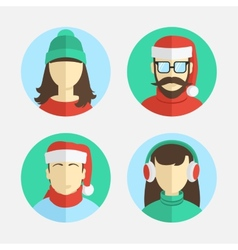 flat design men and women in winter hats vector image