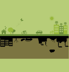 green sustainable and polluted cities vector image
