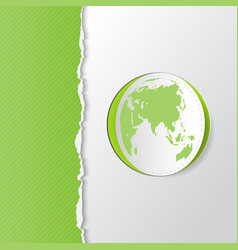 Green torn paper with earth vector