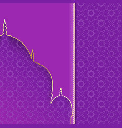 Greeting background with silhouette mosque purple vector