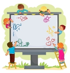 Happy children together draw on a large billboard vector
