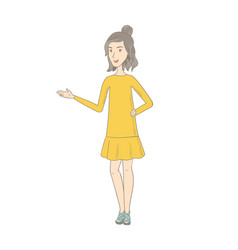 Hippie woman with arm out in a welcoming gesture vector