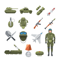 icon set of police and army military vector image