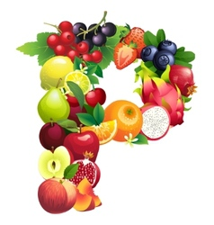 Letter P composed of different fruits with leaves vector image