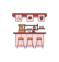 line art coffee house interior vector image vector image
