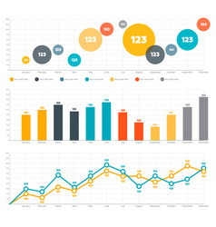 line chart bar chart and circle diagram vector image