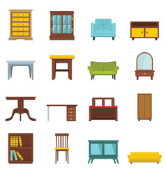 Set flat cartoon office and house furniture vector