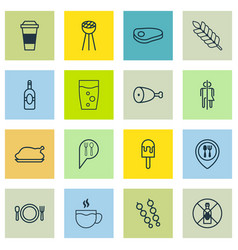 Set of 16 eating icons includes steak hooch vector
