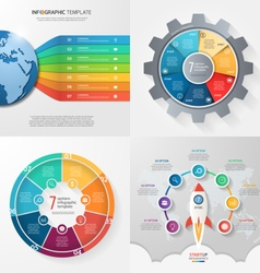 set of 4 infographic templates with 7 processes vector image vector image