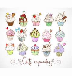 Set of doodle sketch cupcakes with decorations on vector