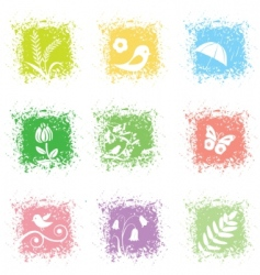 set spring leaves icons vector image vector image