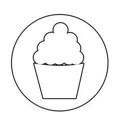 Silhouette circular border with cupcake icon vector