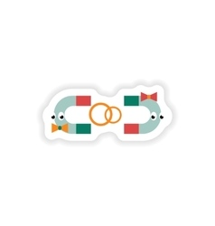 Stylish paper sticker on white background romantic vector