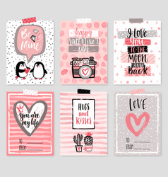 Valentines day card set - hand drawn style with vector