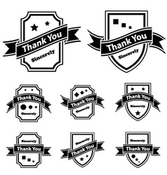 Vintage thank you black and white labels vector