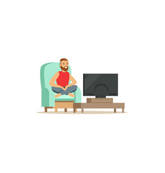 young bearded man sitting on armchair with red vector image vector image