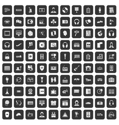 100 headphones icons set black vector image