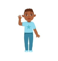 Black boy kid waving part of growing stages with vector