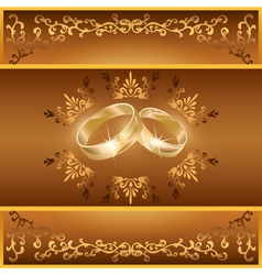 Wedding greeting or invitation card with rings vector