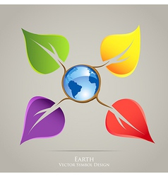 Colorful creative icon design Earth planet and vector image