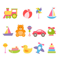 Baby colorful toys set vector