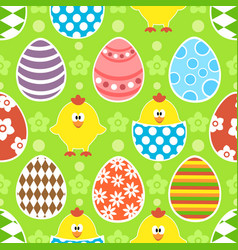 Easter seamless background with funny chickens vector