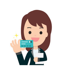 business woman get credit card with isolated vector image
