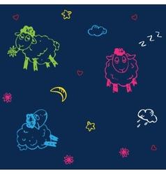 Seamless sheep pattern vector image