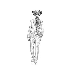 Sketch jack russel terrier in hipster suit hand vector