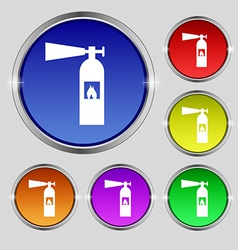 Fire extinguisher icon sign round symbol on bright vector