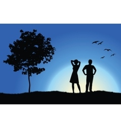 Man and girl standing on hill near tree blue vector