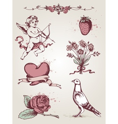 Hand drawn vintage elements for valentines day vector
