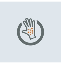 Gray-orange itchy palm round icon vector