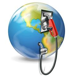 A globe and a petrol pump vector