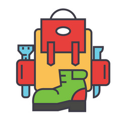 adventure backpack active travel camping boots vector image