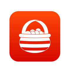 basket with cranberries icon digital red vector image