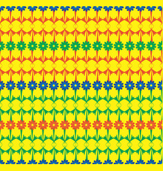 Blue green red rows of flowers seamless pattern vector