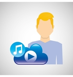 cartoon man young cloud music play vector image